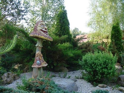 Funny sculpture of a mushroom