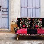 Red and black sofa. Work by designers Hoda Baroudi & Maria Hibri