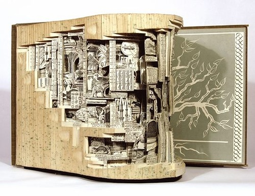 Science. Conceptual sculptures from books by American artist Brian Dettmer