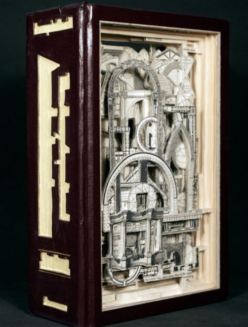 Architecture. Conceptual sculptures from books by American artist Brian Dettmer