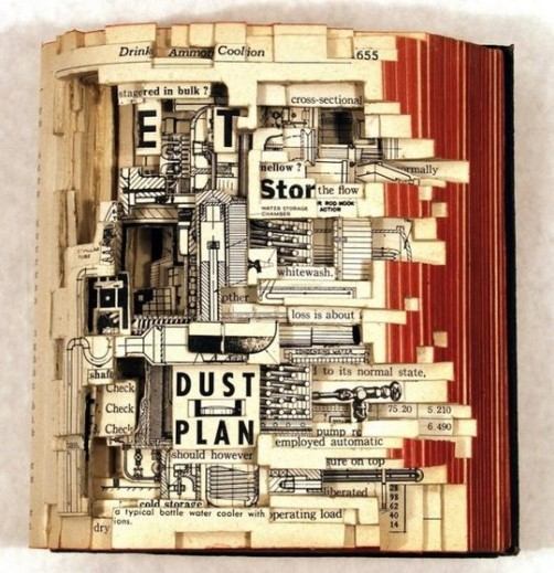 Economics. Conceptual sculptures from books by American artist Brian Dettmer