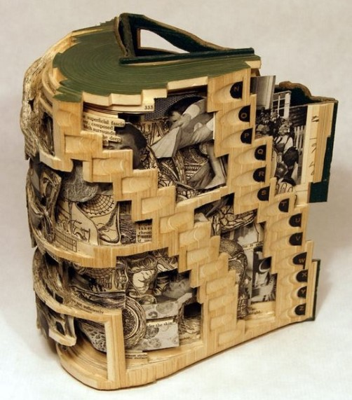 Book sculpture by American artist Brian Dettmer