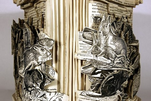 Zoology. Conceptual sculptures from books by American artist Brian Dettmer