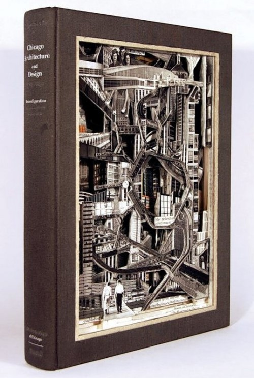 Chicago design. Conceptual sculptures from books by American artist Brian Dettmer