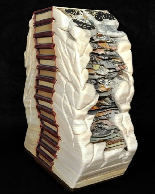 Ancient tribes. Conceptual sculptures from books by American artist Brian Dettmer