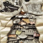 Closeup. Conceptual sculptures from books by American artist Brian Dettmer
