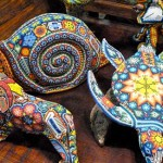 Snails, tortoises, and other animals Huichol beaded sculpture