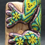 Iguana. Colorful bead sculpture