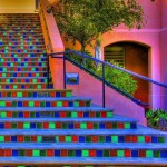 Colorful stairway on one of the buildings on the UCSB campus, Isla Vista, California near Santa Barbara