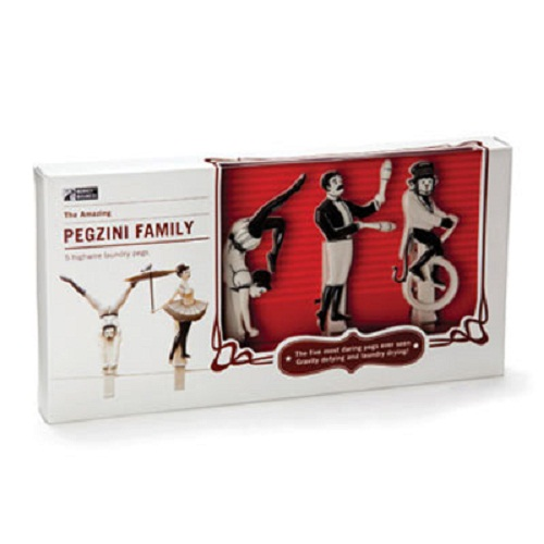 Pegzini Family, a set of creative clothespins depicting circus performers. Work by artists Oded Friedland and Inbal Hoffman