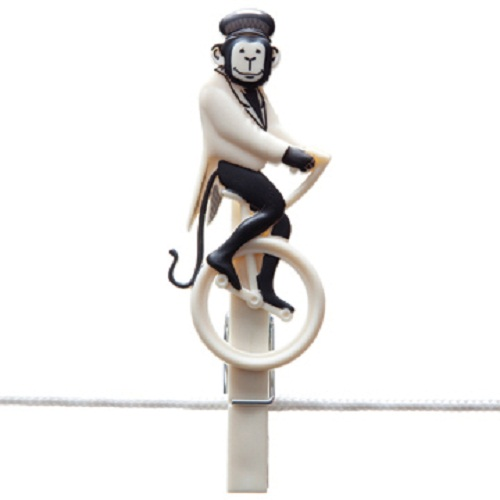 """A monkey riding a bicycle. Creative circus clothespins """"Pegzini Family"""", designed by artists Oded Friedland and Inbal Hoffman"""