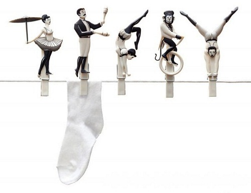 """Beautiful set of circus clothespins """"Pegzini Family"""", designed by artists Oded Friedland and Inbal Hoffman"""