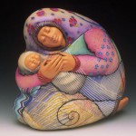 Mother and child. Extraordinary Evening Bags by American clay artist Kathleen Dustin