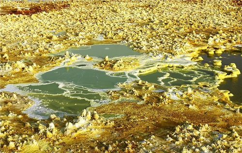 The view of Danakil Depression desert