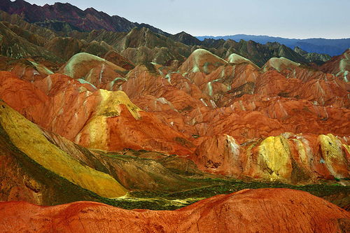 The area formed by reddish sand stone, Danxia mountains in China