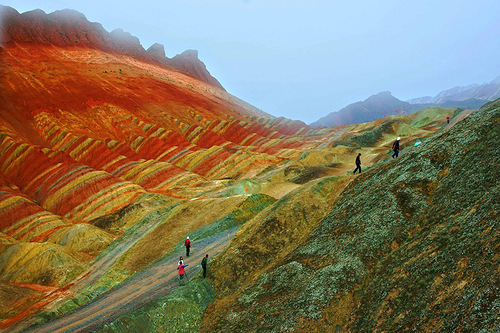 Rare tourists take scenic walks in Danxia – beautiful mountainous area in China