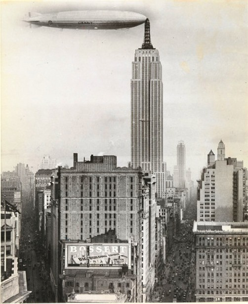 'Dirigible docked on Empire state building, New york' by unknown artist, American, 1930, gelatin silver print. twentieth-century photography fund, 2011