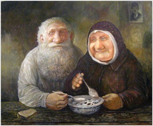 Double portrait with Charlie. Painting by Leonid Baranov, Russian artist