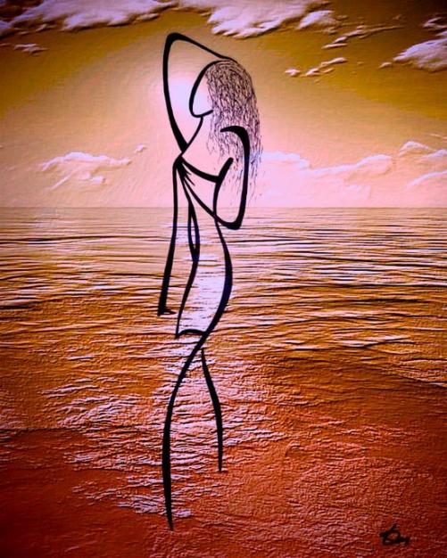 Red sea. Drawings Feel the line by Russian artist Tatyana Markovtseva
