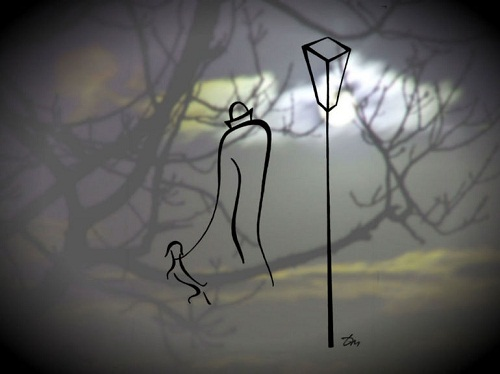 Winter night. Drawings Feel the line by Russian artist Tatyana Markovtsev