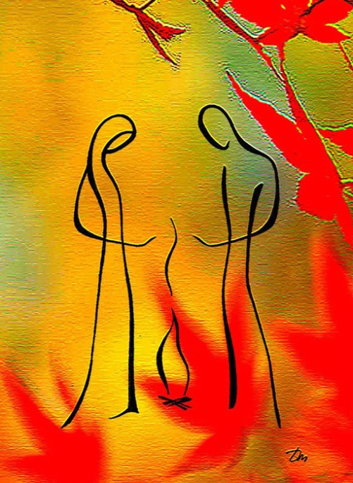 Burning fire. Drawings Feel the line by Russian artist Tatyana Markovtseva