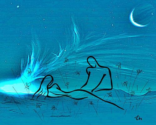 Moonlight. A romantic couple