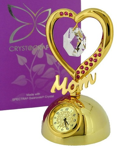 Elegant MOM HEART with Swarovski Crystals. Cast in metal with a rich 24k gold plated finish, elegant heart studded with Swarovski crystal gems