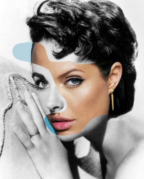Elizabeth Taylor and Angelina Jolie. From the series of collages Iconatomy by Swedish artist George Chamoun
