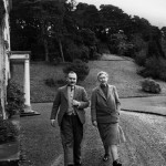 Christie and her husband Max E. L. Mallowan, walk in March 1946 in the ground of their home, Greenway House, in Devonshire