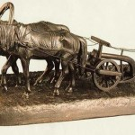 Farmer plowing. Iron. 1914
