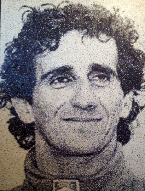 French Formula 1 driver Alain Prost. Dot portrait by Timperley, Cheshire based artist Nikki Douthwaite