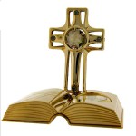 Gold CROSS & BIBLE with Swarovski Crystals. An open Bible placed before a Cross; boasts an attractive gold finish & distinct dark Swarovski crystals studded in the frame