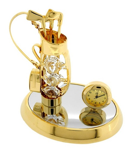 Gold GOLF BAG with Clubs with Swarovsky Crystals, sports theme mini clock; a golf bag with clubs that's fashioned with crystal gems and sits on a oval mirrored base