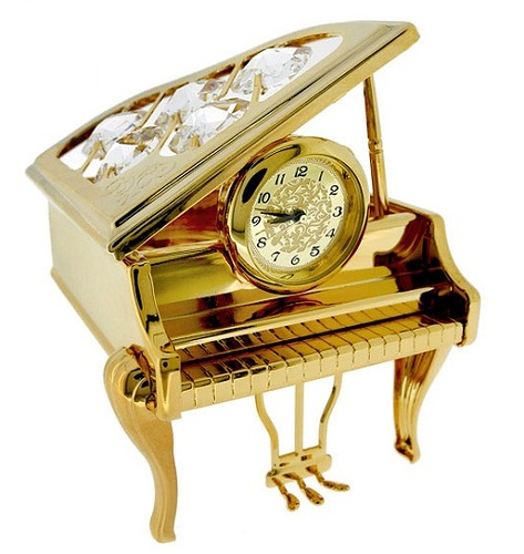 Gold Parlor GRAND PIANO with Swarovski Crystals, cast in metal with a rich gold finish and slick detail, this sheen collectible has 5 Swarovski crystal gems studded into its propped open lid
