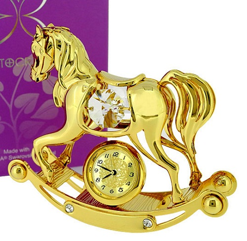 Gold ROCKING HORSE with Swarovski Crystals, magnificent gold rocking horse mini clock, adorned with fiery Swarovski crystals on its sides and embedded in its base