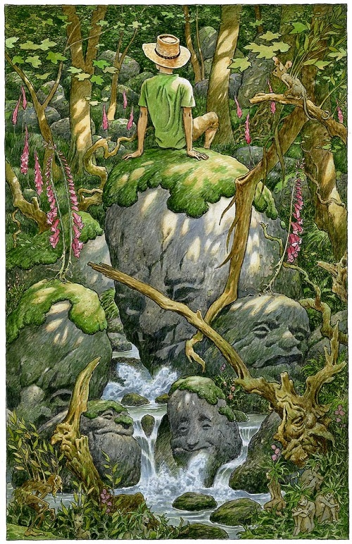 Green illustrations by British artist David Wyatt