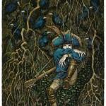A traveling adventurer. Green Fairy tale illustrations by British artist David Wyatt