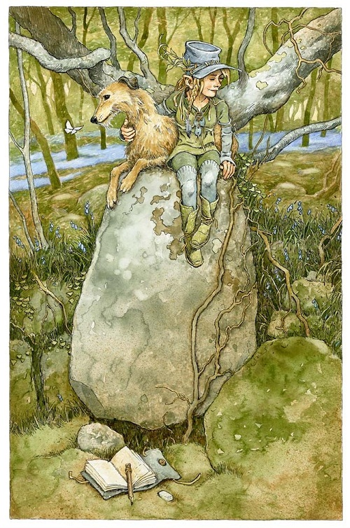 An elf with a wolf. Green Fairy tale illustrations by British artist David Wyatt