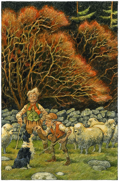 Shepherd. Green Fairy tale illustrations by British artist David Wyatt
