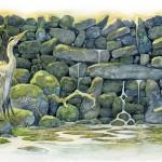 Heron. Green Fairy tale illustrations by British artist David Wyatt