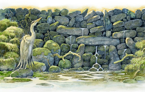Heron. Green Fairy tale illustrations by British artist David Wyatt