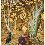 Autumn forest. Green Fairy tale illustrations by British artist David Wyatt