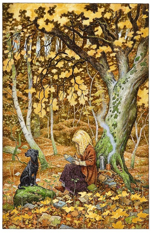 Autumn forest. Green Fairy tale illustrations by British artist David Wyatt