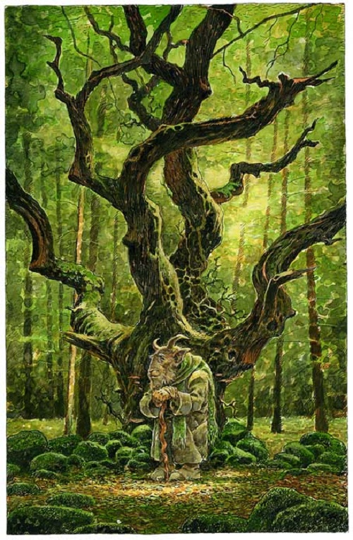 Crooked tree and weird creature. Green Fairy tale illustrations by British artist David Wyatt