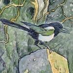 Magpie. Green Fairy tale illustrations by British artist David Wyatt