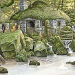Overgrown forest. Green Fairy tale illustrations by British artist David Wyatt
