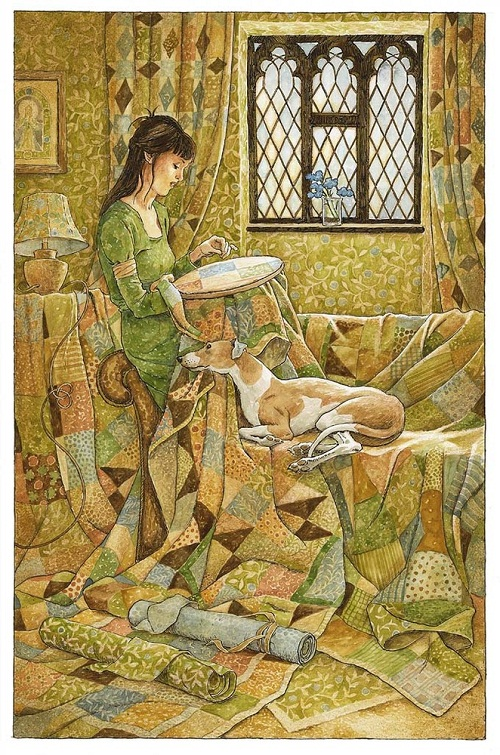 Embroidering. Green Fairy tale illustrations by British artist David Wyatt