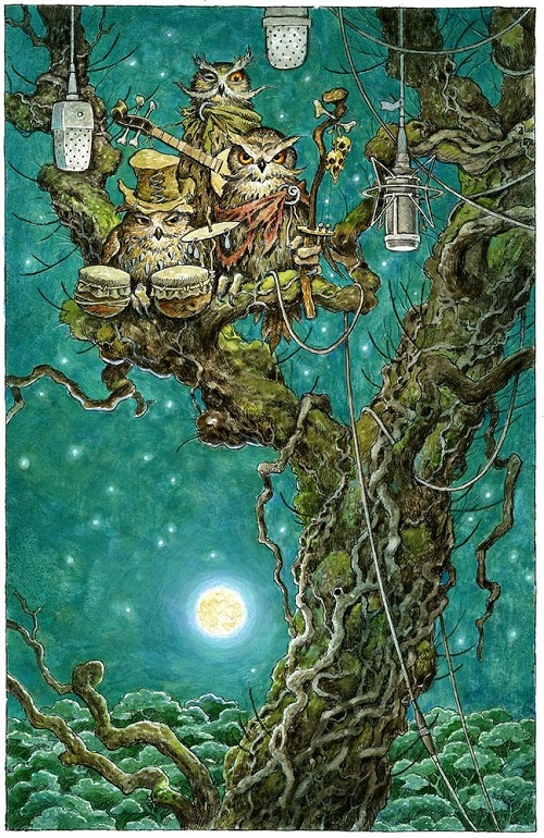 A family of owls in a tree. Green Fairy tale illustrations by British artist David Wyatt