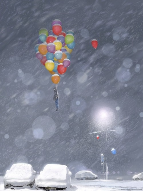 Creepy images from the depths of human subconscious. Happy New Year. Illustrator Alex Andreyev