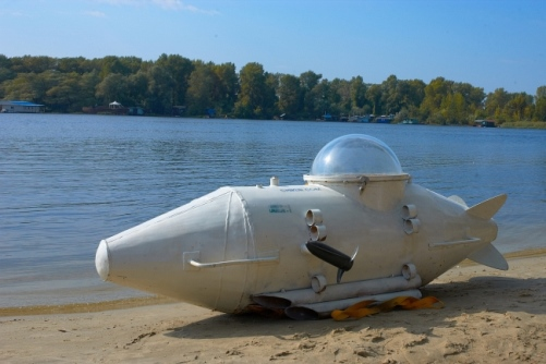 The view of Home made submarine created by Ukrainian craftsman Vasily Chikur